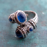 Montana Sapphire Glass Cabochon Stone Antiqued 18k White Gold Plated Ring Made in USA