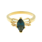 Sapphire Swarovski Crystal Ring 18k Yellow Gold Electroplated Made in USA