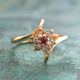 Vintage 1970's Pink Tourmaline and Clear Swarovski Crystal Ring 18k Yellow Gold Electroplated