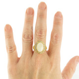 Vintage Genuine Opal and Clear Crystal Ring Edwardian Style 18k Yellow Gold Electroplated Ring R169