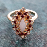 Vintage Genuine Jelly Opal Surrounded by Clear and Ruby Swarovski Crystal Cocktail Ring 18k Yellow Gold Electroplated Made in USA R221