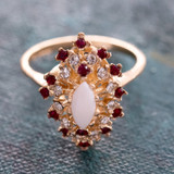 Vintage Genuine Opal Surrounded by Clear and Ruby Swarovski Crystal 18k Yellow Gold Electroplated