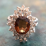 Vintage Smokey Topaz  and Clear Swarovski Crystal 18k White Gold Electroplated Cocktail Ring