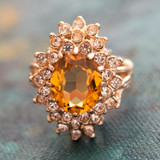 Vintage Topaz and Clear Swarovski Crystal Cocktail Ring 18k Gold Electroplated Made in USA