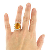 Vintage 1970's Ring Topaz and Clear Swarovski Crystals 18k White Gold Plated Made in USA