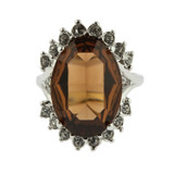 Vintage 1970's Ring Smokey Topaz and Clear Swarovski Crystals 18k White Gold Plated Made in USA