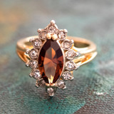 Vintage Smokey Topaz and Clear Swarovski Crystals 18k Yellow Gold Plated Ring Made in USA
