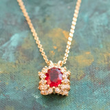 Vintage Ruby and Clear Swarovski Crystal 18k Yellow Gold Electroplated Necklace Made in the USA