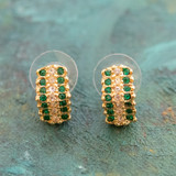 Vintage Emerald and Clear Swarovski Crystal Post Earrings 18k Yellow Gold Electroplated Made in USA