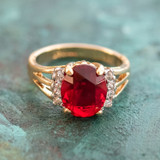 Vintage 1980's Ruby Cubic Zirconia Ring with Clear Swarovski Crystals 18k Yellow Gold Electroplated