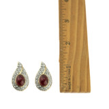 Vintage Ruby Cabochon Crystal Earrings 18kt Gold Electroplated Swarovski Crystals Clip Earrings