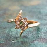 Vintage 1970's Peridot and Clear Swarovski Crystal Ring 18k Yellow Gold Electroplated Made in USA