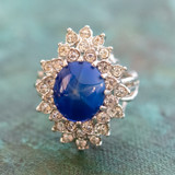 Vintage Blue Star Sapphire 18k White Gold Electroplated Cocktail Ring Made in USA