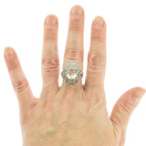 Vintage Clear Crystal Swarovski Crystal 18k White Gold Electroplated Cocktail Ring Made in USA