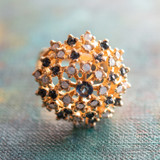 Vintage Sapphire Swarovski Crystal and Pinfire Opal Burst Ring 18k Yellow Gold Electroplated