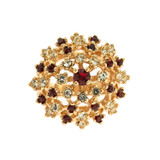 Vintage Ruby and Clear Swarovski Crystal Burst Ring 18k Yellow Gold Electroplated Made in USA