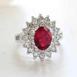 Vintage Jewelry Ruby Cubic Zirconia and Clear Austrian Crystals Cocktail Ring in 18kt White Gold Electroplate Made in the USA