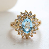 Vintage Aquamarine Swarovski Crystal Cocktail Ring -  Clear Swarovski Crystals - 18kt Yellow Gold Electroplated - March Birthstone - Made in the USA