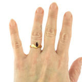 Vintage 1970's Genuine Garnet 18k Yellow Gold Electroplated Ring Made in USA