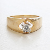 Vintage Clear Swarovski Crystal Engagement Ring - 18k Yellow Gold Electroplated - April Birthstone - Made in USA
