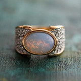 Vintage Genuine Pinfire Opal & Clear Swarovski Crystal Cocktail Ring 18k Yellow Gold Electroplated