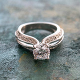 Vintage Clear Cubic Zirconia Solitaire Engagement Ring 1ct. Weight 18k White Gold Electroplate