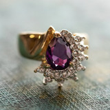 Vintage Ring Amethyst Cubic Zirconia and Clear Swarovski Crystals 18k Yellow Gold Electroplated