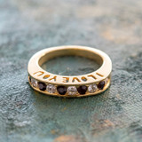 Vintage 1980s I Love You Ring Band Ring Garnet and Clear Swarovski Crystals Imported