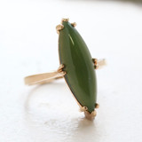 Vintage Genuine Jade Ring - 18k Yellow Gold Electroplated - Made in USA