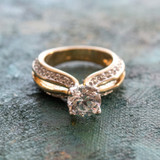 Vintage Clear Cubic Zirconia Solitaire Engagement Style Ring 18k Yellow Gold Electroplate