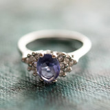 Vintage Ring Tanzanite Cubic Zirconia and Clear Crystals 18kt White Gold Electroplated