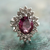 Vintage Amethyst and Clear Swarovski Crystals 18k White Gold Electroplated Cocktail Ring Made in USA