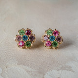 Vintage Pastel Flower Pierced Earrings 18k Yellow Gold Electroplated Made in USA