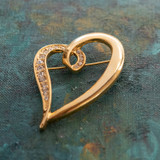 Vintage Heart Pin Clear Swarovski Crystals 18k Yellow Gold Electroplated Made in USA