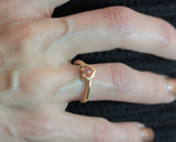 Vintage 1970s Genuine Emerald 18k Yellow Gold Electroplated Heart Ring Retro Style Made in USA