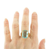 Vintage 1970s Aquamarine Austrian Crystal 18k Yellow Gold Electroplated Cocktail Ring Made in USA