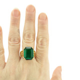 Vintage 1970s Emerald Austrian Crystal 18k Yellow Gold Electroplated Cocktail Ring Made in USA