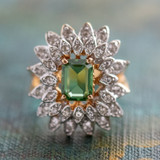 Vintage 1970's Green Tourmaline and Clear Swarovski Crystals 18k Yellow Gold Electroplated
