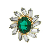 Vintage Emerald and Clear Swarovski Crystal Cocktail Ring 18kt Yellow Gold Electroplated
