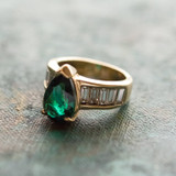 Vintage 1970s Ring Emerald and Clear Swarovski Crystals 18k Yellow Gold Electroplate May Birthstone