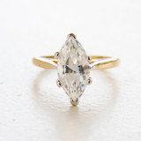 Vintage Clear Cubic Zirconia Engagement Ring - 18k Yellow Gold Electroplated - April Birthstone - Made in USA