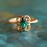 Vintage Emerald Austrian Crystal Ring 18k Yellow Gold Electroplated Made in the USA