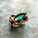 Vintage Emerald Crystal Calla Lily Ring Antiqued 18k Yellow Gold Electroplated Made in USA