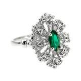 Vintage Ring Emerald and Clear Crystal Ring Birthstone Ring 18kt Antiqued Gold Electroplated