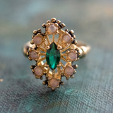 Vintage Ring Emerald and Pinfire Opal Cocktail Ring or Birthstone Ring 18kt Antiqued Gold Electroplated Made in America