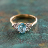 Vintage Ring Aquamarine and Clear Swarovski Crystals 18kt Yellow Gold Electroplated Made in USA