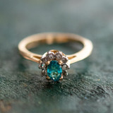 Vintage Ring Blue Zircon and Clear Swarovski Crystals 18kt Yellow Gold Plated Band Size 7 Made in USA R1291