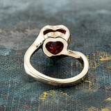 Vintage 1970s Heart Shape Ring with Garnet Swarovski Crystal 18k Yellow Gold Electroplated Made in USA #R1400