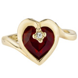 Vintage 1970s Heart Shape Ring with Ruby Swarovski Crystal 18k Yellow Gold Electroplated Made in USA #R1400