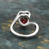 Vintage 1970s Heart Shape Ring with Ruby Swarovski Crystal 18k White Gold Electroplated Made in USA #R1400